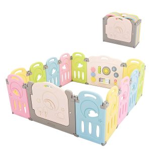 14 Panel Foldable Play Yard Colorful Castle by Fortella