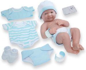 "8 piece Layette Baby Doll Gift Set | JC Toys - La Newborn Nursery | 14"" Life-Like Smiling Newborn Doll w/ Accessories | Blue | Ages 2+"