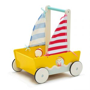 Yellow Blue Aircraft Wooden Baby Push Walker - 2-in-1 Toddler Push & Pull Toys Learning Walker Stroller Walker with Wheels for Baby Girls Boys 1-3 Years Old