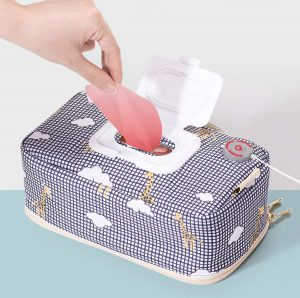 Portable Wipe Warmer, USB Power Wet Wipes Warmer Container | Bag | Dispenser | Case | Holder, Large Capacity, Diaper Wipe Warmer with Light, Power by Car...