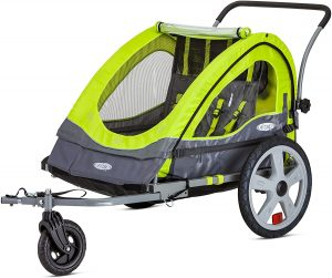 Instep Quick-N-EZ Double Tow Behind Bike Trailer for Toddlers, Kids, Converts to Stroller