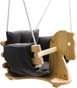 Baby Wooden Horse Swing Toddler Secure
