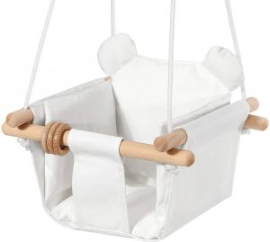 Mlian Secure Canvas and Wooden Baby Hanging Swing