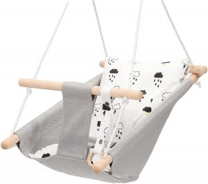 Mlian Secure Canvas and Wooden Baby Swing