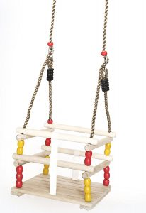 PLAYBERG Wooden Baby Swing with Hanging Ropes