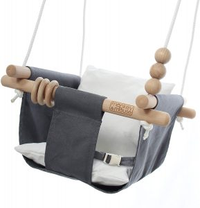 Monkey & Mouse Secure Canvas and Wooden Hanging Swing Seat Chair
